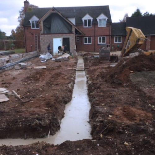 Foundation Construction, Oxfordshire - Trench fill concrete foundations
