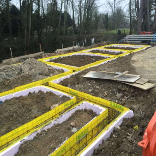 Foundation Construction, Oxfordshire - Reinforced Concrete Ground beams built on pile caps with Claymaster heave protection board